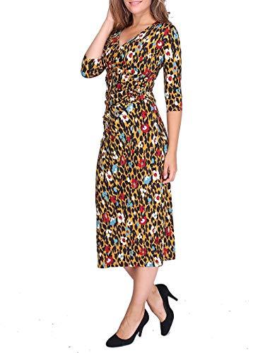 Revdelle - Robe Longues Cache Coeur Col V Made in France Manches 3/4 Femme Imprimer Leopard Velia