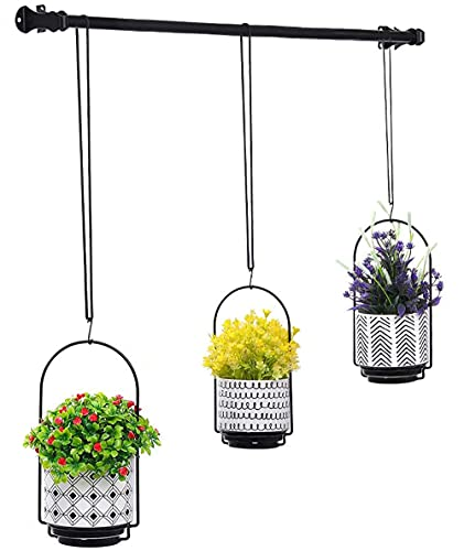 3pcs Hanging Plant Flower Pot - Codream 18/8 Stainless Steel and Ceramic Flowerpot Vase Outdoor Indoor Wall Decor Hanging Planters Baskets 4.1 Inches