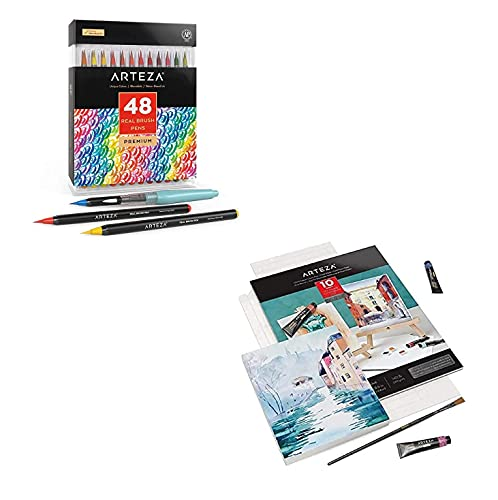 Arteza Real Brush Pens 48 Colors Watercolor Paper Foldable Canvas Pad Folded Size 7x8.6 Inches Bundle, Painting Art Supplies for Artist, Hobby Painters & Beginners