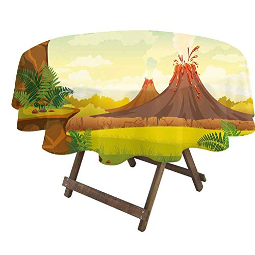 prunushome Volcano Fitted Table Cover Prehistoric Landscape with Cave Smoky Volcanoes and Green Grass Cloudy Sky for Dining Room Party Outdoor Picnic Orange Green Red | 36' Round
