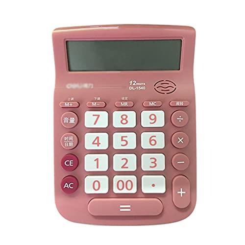 BENO Calculadora De Voz Multifunción 12 Dígitos Grandes LCD Calculadora De Pantalla para La Calculadora De Escritorio De Contabilidad Financiera calculadora portatil (Color : Pink)