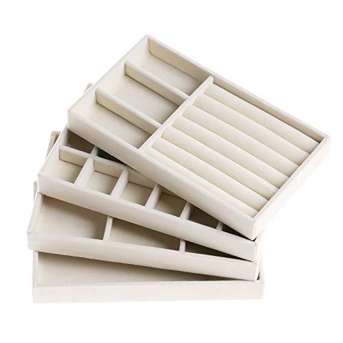 Schmuckaufbewahrung Schublade, Set mit 4 Samt-Schmucktabletts Stapelbar Schubladeneinsatz Schmuck Schmuckorganizer Schmuckkasten Damen Beige