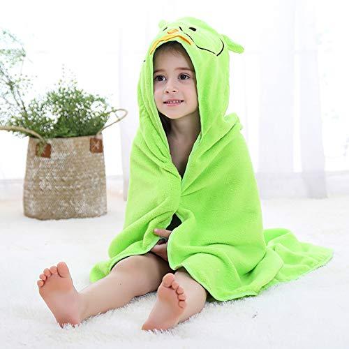 LRQY Garçons Fille Serviette à Capuchon,Doux Ultra-absorbante Coton Peignoirs Couvertures pour Les Enfants Enfant Bébé, 90x90cm (35x35inch),Green