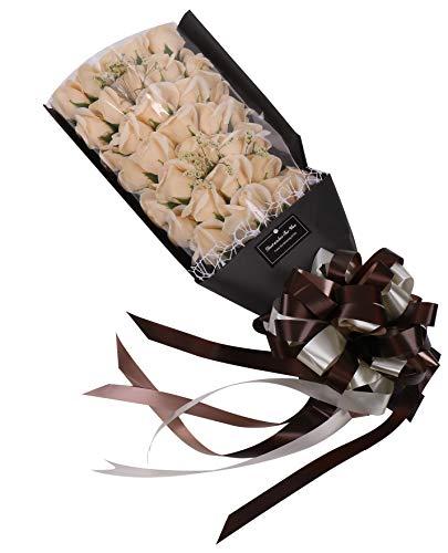 【Sialinxブランド】 ギフト ソープフラワー バラ の 花束 クリーム ホワイト ギフトボックス 紙バッグ 付き プレゼント ローズ ブーケ 誕生日 石鹸 お祝い インテリア 造花 シャボンフラワー 白 薔薇 sia129