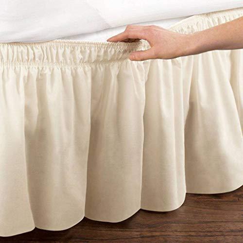Pliegues de cama elásticos alrededor de la falda de la cama, volantes de polvo plisado Cubre Canapé Medidas canapé Faldón de volantes con banda Cubre unda de somier Colcha-Beige-T/COMPLETO-120*200Cm