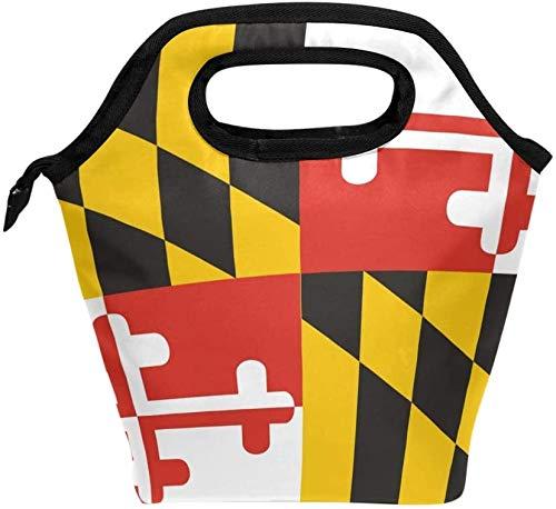 Bolsa de almuerzo con estampado de la bandera del estado de Maryland, lonchera reutilizable con aislamiento, lonchera térmica más fría para oficina de trabajo escolar
