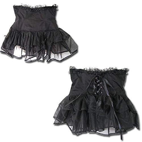 Black Sugar Corsage Lacets Dentelle Gothique Punk Serre-taille Tutu Tulle Victorien Rétro Bouffant Dance (XXL(40/42))
