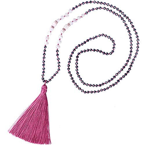 KELITCH Cáscara Perlas Hematitos Rebordeado Collar Hecho A Mano Largo Borlas Colgantes Encanto Joyería para Mujer (Rojo F)