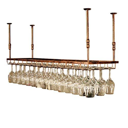 JLKDF Estante para vinos, Bar, Restaurante, Colgante, Estante para Copas de Vino, Soporte para Botellas de Vino en el Techo Estantes para Copas de Metal Copa de Hierro Multi, Bronce, 120
