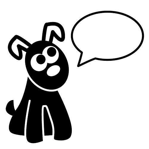 Stemplino Orig Maxi - Sello de madera (100 x 62 mm, redondo), diseño de perro con burbuja de voz, para tarjetas, regalos y manualidades