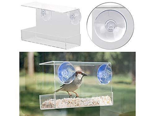 Royal Gardineer Vogelhaus mit Saugnapf: Vogel-Futterhaus aus Acryl mit Saugnapf-Befestigung fürs Fenster (Vogelhaus Fenster Saugnapf)