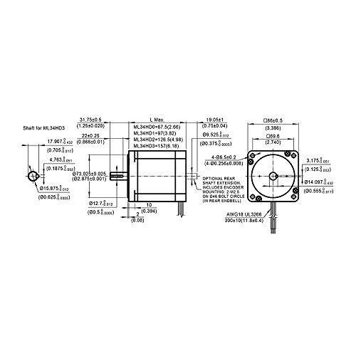 Moons NEMA34 - Motor paso a paso de alta torsión (9,8 Nm, 5 A, 2 ...