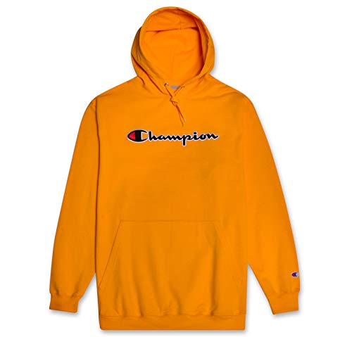 Champion Mens Big and Tall Hoodie Sweatshirt with Embroidered Script Logo Gold 5X