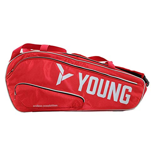 Young Badminton Bag Premium Tournament Series , Thermal Compartment, Dedicated Clothing, Shoes, Wallet Pockets, Adjustable Straps