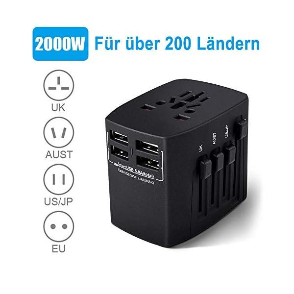 Adaptateur-de-Voyage-Universel-4-Ports-USB-30-Adaptateur-Secteur-International-2000-W-Adaptateur-de-Chargeur-Tout-en-Un-pour-UEUSAUKUAAustralie-Plus-de-150-Pays-Gris-fonc