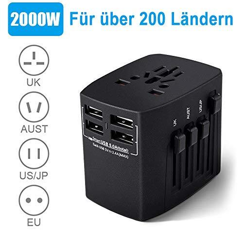 Reiseadapter EU USA, Reisestecker, 2000W Stromadapter mit 4 USB AC Steckdose, Föhn Reiseadapter für UK, EU, Thailand, Kanada, Japan,Australien über 200 Ländern, Schwarz