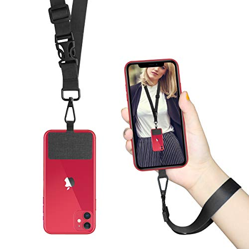 Universal Phone Lanyard Neck Wrist Straps with Durable Nylon Patch Compatible for iPhone Samsung Galaxy Huawei Series and Most Smartphone (Pure Black)