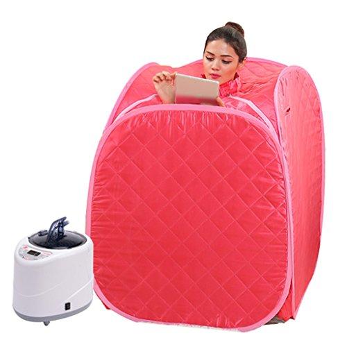 Sauna à Vapeur Portable Traitement de Pliage Personnel Perte de Poids Spa Famille intérieure + Chaise et télécommande (Couleur : Rouge)