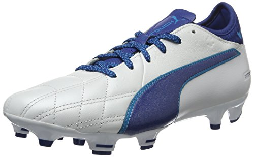 Puma Evotouch 3 Lth Fg, Scarpe da Calcio Uomo, Bianco White-True Blue-Blue Danube 02, 44 EU