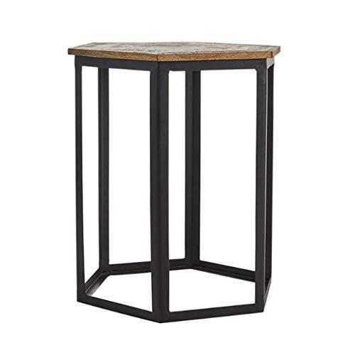 LYN Sofa bijzettafel, mangohout kleine bank bijzettafel, smeedijzer eenvoudige Home Office Lezen tafel creatieve thee tafel, 45 * 53cm