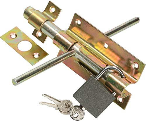 KOTARBAU® Türriegel Bolzenriegel 100 mm Beidseitig Torriegel Schlossriegel mit Vorhängeschloss Verzinkt Gelb