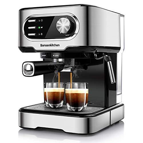 Bonsenkitchen Espressomaschine 15 Bar, für Cappuccino, Latte Macchiato, Espresso, mit abnehmbarem Wassertank, Milchdampfdüse, 2-Tassen Funktion, Edelstahl, 850W