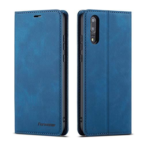 QLTYPRI Hülle für Huawei P20, Premium Dünne Ledertasche Handyhülle mit Kartenfach Ständer Flip Schutzhülle Kompatibel mit Huawei P20 - Blau