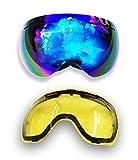 Brown Labrador Gafas de Esquí Máscara Esqui Snowboard Snow Ski Nieve Lente REVO Intercambiable + Lente Amarillo Hombre Mujer Adultos Anti Niebla Protección UV 400 (Revo + Amarillo)