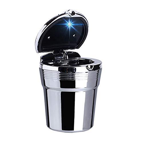R24DS KFZ Auto Aschenbecher Mit Deckel LED Beleuchtung Getränkehalter Gluttöter, Aluminiumlegierung und Kunstoff, Für Autos Outdoor Camping