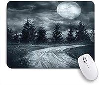 VAMIX マウスパッド 個性的 おしゃれ 柔軟 かわいい ゴム製裏面 ゲーミングマウスパッド PC ノートパソコン オフィス用 デスクマット 滑り止め 耐久性が良い おもしろいパターン (ホラーハウスムーンライズマジックランドスケープ、パインズへの空の田舎道、ドラマティックなヴァンパイアウェイプリント)