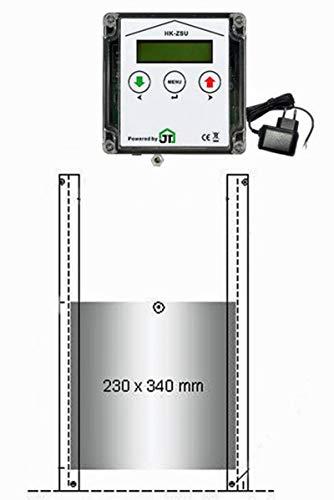 JOSTechnik automatische Hühnerklappe mit Zeitschaltuhr, Lichtsensor, echter Nothaltefunktion und Klappe 230 x 340 mm