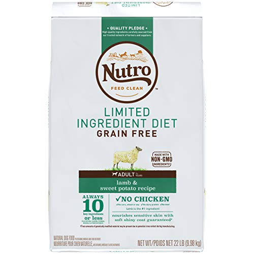 NUTRO Limited Ingredient Diet Adult Dry Dog Food Lamb & Sweet Potato Dog Kibble, 22 lb. Bag