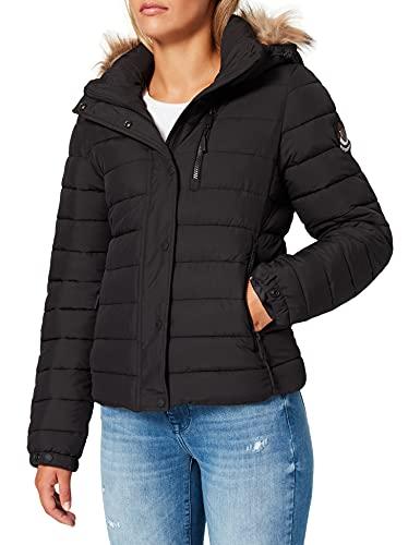 Superdry Classic Faux Fur Fuji Jacket Veste, Noir, XL Femme