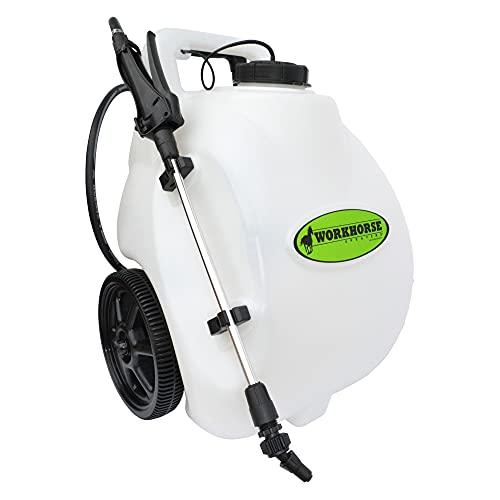 WORKHORSE SPRAYERS LG05SS Rechargeable Spot Sprayer - White Portable Sprayer with Wheels, Vertical & Horizontal Stream Range, 5 Gallon Tank. Garden Sprayer