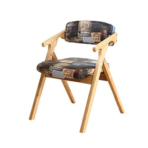 TD26 Chaise pliante en bois de hêtre massif, matelas en mousse haute élasticité, chaise d'ordinateur de salle à manger moderne minimaliste maison salon chambre à coucher, 75 * 54CM