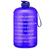 FRETREE Gallon Water Bottle Portable Water Jug - Fitness Sports Daily Water Bottle with Motivational Time Marker, Leak-Proof Gym Bottle for Outdoor Camping, Purple(1 Gallon, BPA Free)