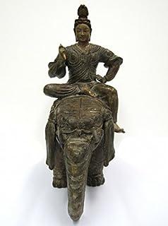 瑞峰『帝釈天』ブロンズ像 銅像 仏像 天部 梵天 梵釈 象 フィギュア【オブジェ 置物】【R2020】