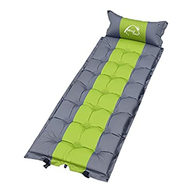 Wind Tour Sleeping Pad Self Inflating with Pillow for Camping - Lightweight Air Mattress for Backpacking, Hiking, Traveling (Green)