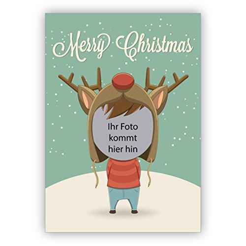 Schattige kerstkaarten en ansichtkaarten met hun foto onder de rendiermuts • Uitklapkaartenset met envelop als liefdevolle kerstgroet voor familie en vrienden. 20 Foto-Karten ohne Logo