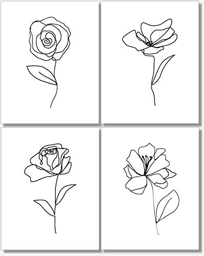 Black and White Wall Art - Flower Line Drawings - Botanical Prints - Abstract Pictures - Set of 4-11x14 - Unframed