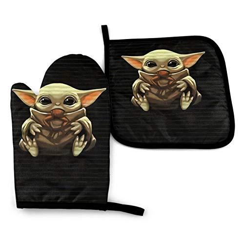 BLACKbiubiubiu Star Wars Yoda Ensemble de maniques et maniques pour barbecue, cuisson, cuisson, imperméable, antidérapant, résistant à la chaleur