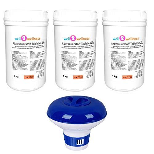 well2wellness Aktivsauerstoff Tabletten 20g Sauerstofftabs O²-Tabs 20g chlorfrei 3 x 1,0 kg Plus Dosierer