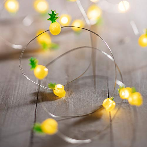 Lights4fun 20er LED Micro Lichterkette warmweiß Ananas Draht Timer Batterieb