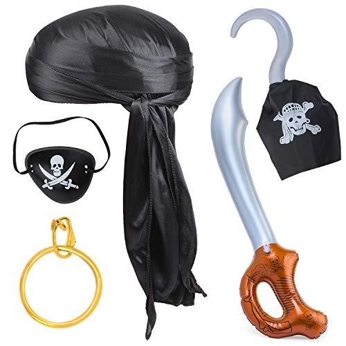 Haichen 5 Piezas Accesorios para Disfraces de Piratas de Halloween Durag Tapa para la Cabeza de Cola Larga Gorra Parche en el Ojo de Pirata Pendiente de Oro Gancho de Espada Juego de