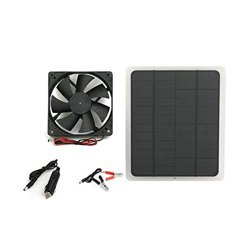 XIAOFANG 20W Sonnenenergie-Ventilator mit Zellen-Platten-Lüfter Minitype-Ventilator für Hund Hühnerhaus Gewächshaus RV (Color : Black)
