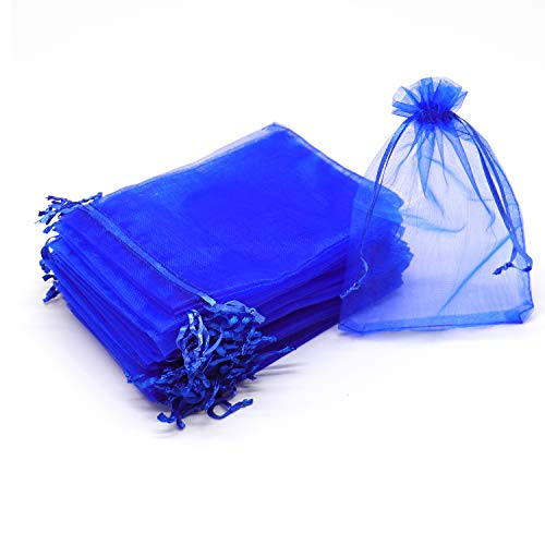 Dealglad 100pcs Drawstring Organza Jewelry Candy Pouch Party Wedding Favor Gift Bags (3x4, Royal Blue)