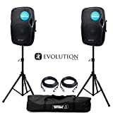 Evolution Audio RZ12A V3 Active 2000W 12' DJ Disco PA Speaker (Pair) with Stands