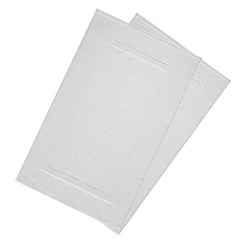 "VEEYOO White Bath Mats Set of 2 Pack, 100% Cotton Luxury Hotel and Spa Quality Shower Mats, Machine Washable Absorbent Extra Soft Bathroom Mat, 20"" x 32"""