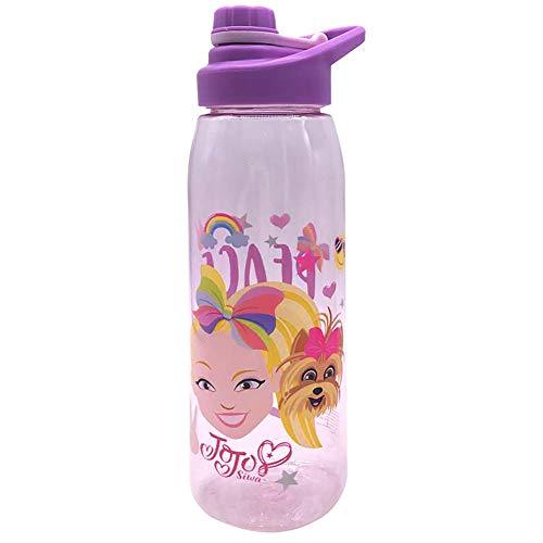 Silver Buffalo JOJ405L3 JoJo Emoji Peace Love Unicorns Botella de agua con tapa de rosca Tritan, 28 onzas, color rosa