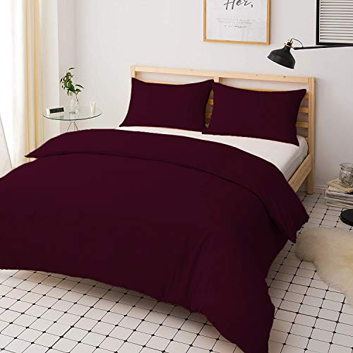 mFabrics Poly-Cotton Duvet Quilt Cover Set - Easy Care, Machine Washable - Single Double King Super King - Pillowcase Included (Plum, King)